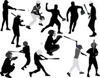 Baseball players vector silhouette Stock Photo