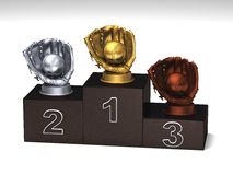 Baseball podium. Baseball dark wood podium with trophies on a white floor vector illustration