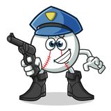 Baseball police holding gun mascot vector cartoon illustration. This is an original character Royalty Free Stock Photos