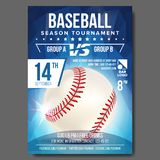 Baseball Poster Vector. Banner Advertising. Sport Event Announcement. Announcement, Game, League Design. Championship Stock Images