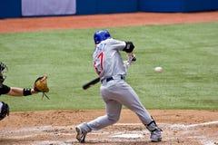 Baseball professionale: Fontenot fino al blocco Fotografie Stock Libere da Diritti