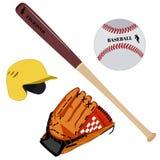 Baseball rękawiczki, hełma, nietoperza i piłki wektorowa płaska ilustracja, royalty ilustracja
