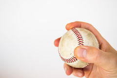 Baseball ready to be pitched Stock Photo