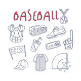 Baseball Related Object And Inventory Set Royalty Free Stock Photo
