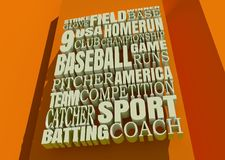 Baseball Relative Words Cloud. Word Cloud about Baseball Game. Cube Shapes Background. 3D rendering Stock Photos
