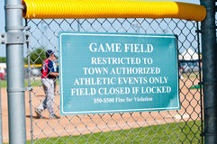 Baseball Restriction Sign Royalty Free Stock Photo