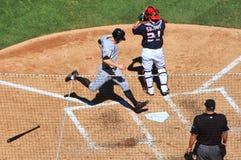 Baseball - runner scores! Royalty Free Stock Photos