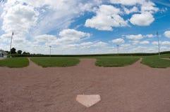Baseball sätter in fisheye arkivfoto