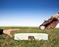 Baseball safe and force out concept Royalty Free Stock Images
