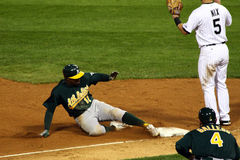 Baseball - safe at third! Stock Photo