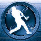 Baseball Science Blue. Striking high tech portrayal of a baseball player hitting ball. Blue version Royalty Free Stock Photography