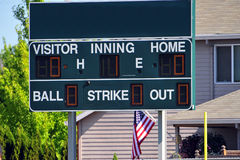 Baseball score board Royalty Free Stock Photo