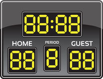 Baseball scoreboard. Illustration of baseball scoreboard, yellow numbers on gray background Royalty Free Stock Photos