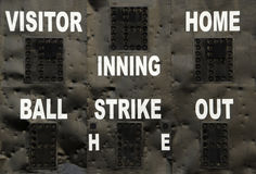 Baseball Scoreboard. A baseball scoreboard at a recreation park with dents from being hit by the ball royalty free stock image