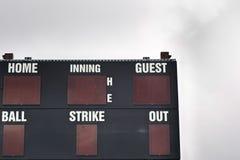 Baseball Scoreboard against overcast sky Stock Photo