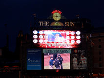 Baseball scoreboard duing a instant replay 'play under review' Royalty Free Stock Photography