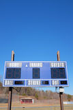Baseball Scoreboard. Electronic scoreboard is ready for action at a small town baseball field Stock Photography