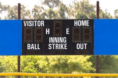 Baseball Scoreboard. Little league baseball scoreboard with blue panels on either side and trees in the background Royalty Free Stock Photo