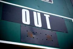 Baseball Scoreboard Outs. Marquis at a baseball field showing outs, with vignette Stock Images