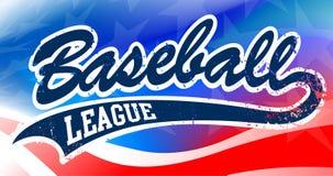 Baseball script on an American flag background Stock Photo
