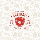 Baseball seamless pattern and emblem of softball team. Background of light color Royalty Free Stock Photos
