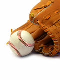 Baseball season. Close up of a baseball glove and ball isolated on white Stock Photography
