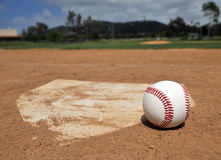 Baseball Season. Symbolic portrayal of baseball on a sand lot type of field. Ball and home plate in foreground in focus with outfield visible but out of focus Stock Photos