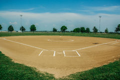 Baseball Season. Is about ready to start. The fild is prepped and ready for the first pitch, the first hit, the first cheers and the first hero. Baseball is the Stock Photo