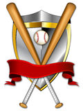 Baseball Shield Banner Illustration. This is a logo illustration that can be used for any baseball and softball teams or leagues. It is a clean crisp example of stock illustration