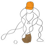 Baseball shortstop. Simple abstract line art baseball shortstop or fielder fielding the ball Royalty Free Stock Photo