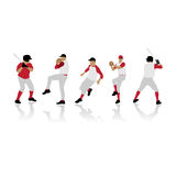Baseball silhouettes. Baseball players silhouettes,  illustration Royalty Free Stock Photos