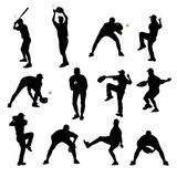 Baseball silhouettes Royalty Free Stock Photo