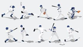 Baseball Silhouettes. Ten baseball players in action alternate file is in illustrator 8 format Vector Illustration