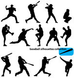 Baseball silhouettes collection Royalty Free Stock Images