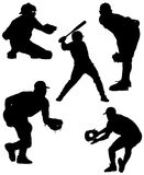 Baseball Silhouettes Vector. Five baseball silhouette action shots in a vector illustration format Stock Image