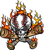 Baseball Skull Cartoon with Flaming Bats Vector Stock Photo
