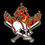 Baseball Skull with Flaming Bats Vector Stock Photos