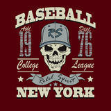 Baseball skull t-shirt graphic design Royalty Free Stock Photography