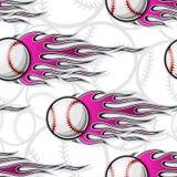 Seamless vector pattern with baseball softball ball icon and flame. Baseball softball ball seamless pattern with hotrod flame. Printable vector illustration Stock Photo