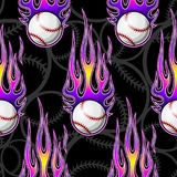 Seamless vector pattern with baseball softball ball icon and flame. Baseball softball ball seamless pattern with hotrod flame. Printable vector illustration Royalty Free Stock Photography