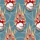 Seamless vector pattern with baseball softball ball icon and flame. Baseball softball ball seamless pattern with hotrod flame. Printable vector illustration Royalty Free Stock Photo