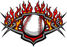 Baseball Softball Ball Template with Flames Stock Images