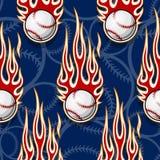 Seamless vector pattern with baseball softball ball icon and flame. Baseball softball balls printable seamless pattern with hotrod flames. Vector illustration Royalty Free Stock Photography