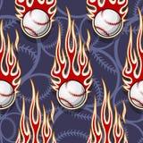 Seamless vector pattern with baseball softball ball icon and flame. Baseball softball balls printable seamless pattern with hotrod flames. Vector illustration Stock Photo
