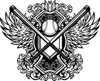 Baseball Softball Bats Ornate Graphic Template Stock Photography