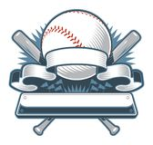 Baseball or Softball with Crossed Bats and Banner royalty free illustration