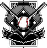 Baseball or Softball Field with Bats. Baseball Bats, Baseball, and Home Plate or Ornate Field Graphic Stock Photos