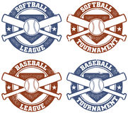 Baseball and Softball League Stamps Stock Images