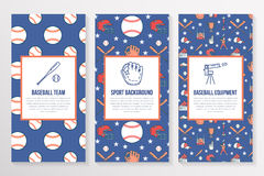 Baseball, softball sport game brochure template, flyer. Vector trifold colored blue background. Equipment thin line Royalty Free Stock Photography