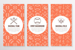 Baseball, softball sport game brochure template, flyer. Vector trifold orange background. Equipment thin line icons - Stock Images